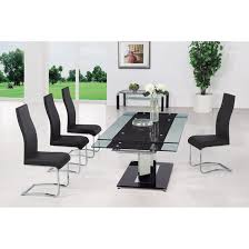Round Glass Dining Table  Chairs Bedroom And Living Room Image - Black dining table for 8