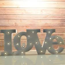 Metal Signs Home Decor Marquee Light White U0027love U0027 Word Led Metal Sign Battery Operated