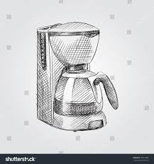 hand drawn coffee maker sketch symbol stock vector 725614909