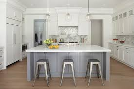 steel gray kitchen island with tolix stools transitional kitchen