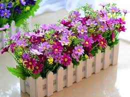 Cheap Fake Flowers Ball Wooden Fence Combination Package Lavender Daisy Artificial