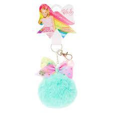 jojo s earrings jojo siwa mint pom pom with pastel rainbow bow keychain cadence