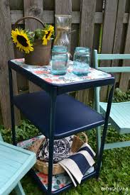 upcycled paper lined vintage metal cart refresh living