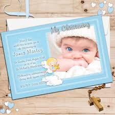 Christening Invitations Cards 10 Personalised Boys Christening Baptism Invitations Photo Invites N74