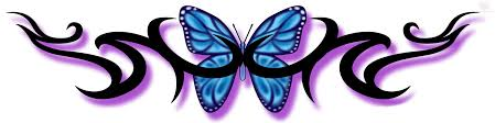 dainty tribal lower back tattos blue butterfly and tribal