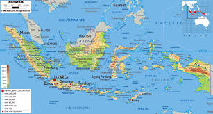 Asia Physical Map Large Physical Map Of Indonesia With Roads Cities And Airports