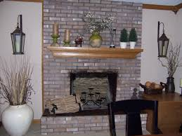 painted brick fireplace with grey paint brick stone fireplace