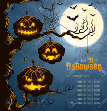 halloween background scary blue grungy halloween background with scary pumpkins on a tree