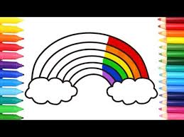 draw rainbow coloring pages kids songs learn drawing