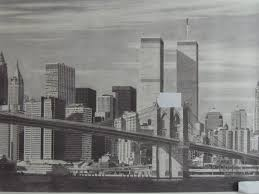 manhattan skyline art print of manhattan skyline with twin towers pencil drawing