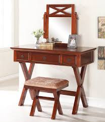 Bedroom Vanities With Mirrors by 3 Pc Dark Cherry Finish Wood Make Up Bedroom Vanity Set With Cross