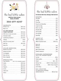 Hair Salon Price List Template Free Salon Pricwe Lists Images Reverse Search
