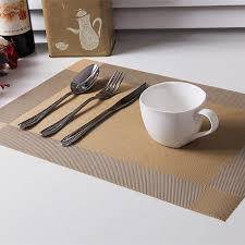 Table Place Mats Thicken 4pcs Set Pvc Square Dining Table Placemats Gold Heat