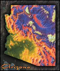 Map Of Yuma Arizona by Arizona Map Topographic Style Adds Color To Rugged Terrain