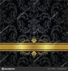 black and gold ribbon seamless black floral wallpaper and gold ribbon stock vector
