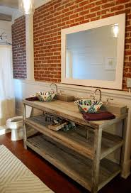 traditional bathroom vanity design from wood with brick wall