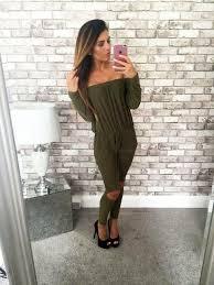 casual jumpsuits 2017 autumn jumpsuit cut out shoulder fashion