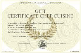 humour cuisine gift certificate chef cuisine