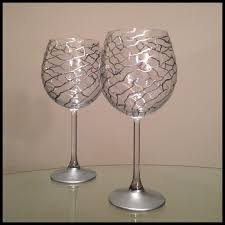 Modern Wine Glasses by Custom Hand Painted Wine Glasses Silver Abstract Design By Ashley