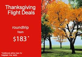 thanksgiving flights roundtrip from 183 at webjet
