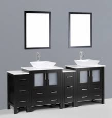 Bathroom Vanities With Vessel Sinks Contemporary 84 Inch Espresso Square Vessel Sink Bathroom Vanity