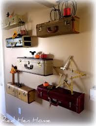 vintage on the shelf diy idea turn vintage suitcases into a unique shelf wall huffpost