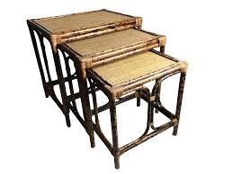 vintage rattan nesting tables mid century bamboo rattan nesting tables set of 3 rattan mid