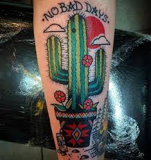 33 nice flower cactus tattoo