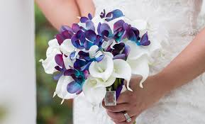 blue and purple orchids white callas and turquoise and purple orchid bridal bouquet
