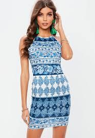 blue bodycon dress blue print bodycon dress missguided