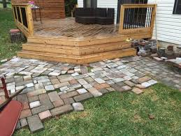 Patios With Pavers Need Help Deciding How To Lay Pavers Angled Deck Steps