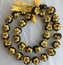 kukui nut kukui nut hibiscus yellow flower necklace hawaiian wedding