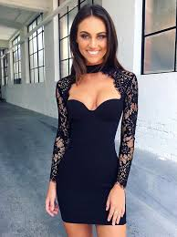 Black Homecoming Dresses With Sleeves Buy Bodycon High Neck Long Sleeves Cut Out Black Homecoming Dress