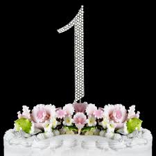 completely covered swarovski crystal number cake toppers