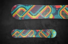 snowboard design create a bright vector snowboard design in illustrator