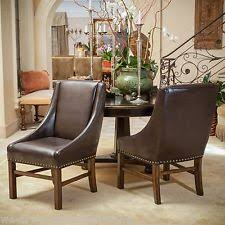 Brown Leather Dining Room Chairs Nailhead Chair Ebay