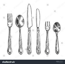 Kitchen Forks And Knives Cutlery Freehand Pencil Drawing Set Vector Stock Vector 648997663