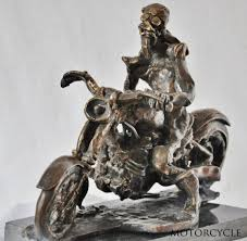sculpture easy rider stylised bronze motorcyclist and motor