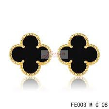 sweet earrings cleef arpels sweet alhambra earrings yellow goldblack onyx