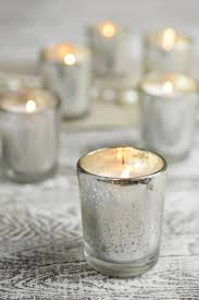 pre filled candles in mercury glass votive holders