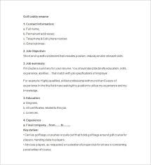 resume job objectives golf caddy resume template u2013 8 free samples examples format