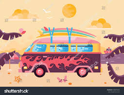 beach jeep clipart surfing van flat illustration on beach stock vector 489873256