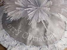 luxury fur trim tree skirt silver grey decoration