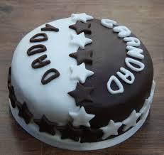 a cake of two halves half chocolate half vanilla birthday cake