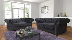 Chesterfield Patchwork Sofa by Nelson Chesterfield 3 2 Chenille Fabric Sofa Suite Charcoal Grey
