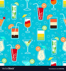 cocktail drinks seamless pattern with alcohol cocktail drinks vector image