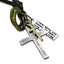 cross ring necklace images Antique vintage cross ring inspirational charm adjustable black jpg