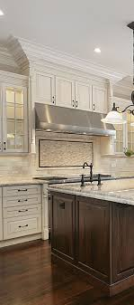 Kitchen Cabinet Designs White Kitchen With Large Stained Wood Island Traditional