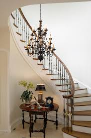 stair spindles staircase traditional with accent table chandelier