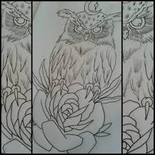 owl and rose tattoo design by thirteen7s on deviantart